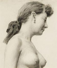 Thomas Eakins | Head and Torso of a Woman with Ribbon in her Hair | Giclée Canvas Print
