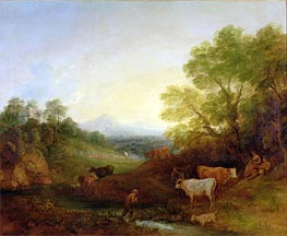 Gainsborough | A Landscape with Cattle and Figures by a Stream and a Distant Bridge | Giclée Canvas Print
