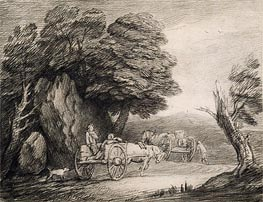 Gainsborough | Wooded Landscape with Carts and Figures | Giclée Canvas Print