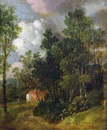 Gainsborough | Wooded Landscape with Country House and Two Figures, c.1752 | Giclée Canvas Print