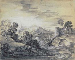 Gainsborough | Wooded Landscape with Castle, c.1785/88 | Giclée Paper Print