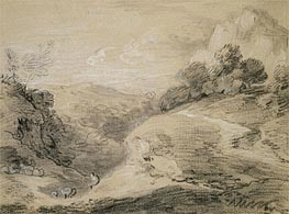 Gainsborough | A Hilly Landscape with Shepherd and Sheep, Undated | Giclée Paper Print