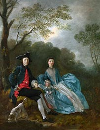Gainsborough | Portrait of the Artist with his Wife and Daughter, a.1748 | Giclée Canvas Print