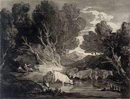 Gainsborough | Wooded Landscape with Figures and Cows at a Watering Place, c.1776/77 | Giclée Paper Print