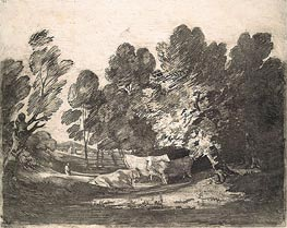 Gainsborough | Wooded Landscape with Herdsmen and Cows | Giclée Canvas Print