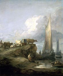 Gainsborough | Coastal Scene with Shipping and Cattle, c.1781/82 | Giclée Canvas Print
