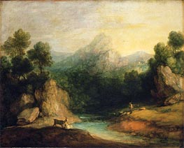 Gainsborough | Pastoral Landscape (Rocky Mountain Valley with a Shepherd, Sheep, and Goats), c.1783 | Giclée Canvas Print