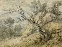 Gainsborough | Landscape with Rocks and Tree Stump | Giclée Canvas Print