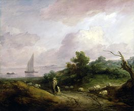 Gainsborough | Coastal Landscape with a Shepherd and His Flock, c.1783/84 | Giclée Canvas Print