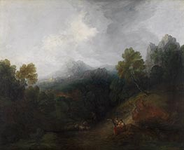 Gainsborough | Mountain Valley with Figures and Distant Village | Giclée Canvas Print