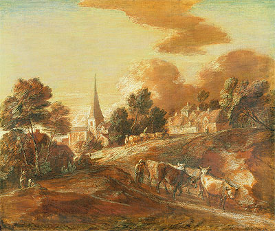 Gainsborough | An Imaginary Wooded Village with Drovers and Cattle, c.1771/72 | Giclée Paper Print