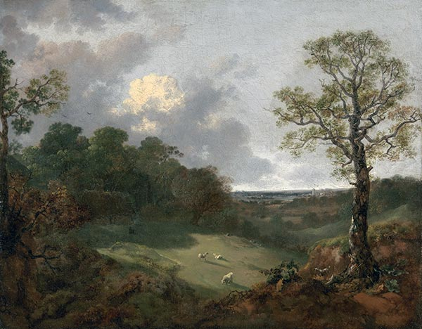 Wooded Landscape with a Cottage and Shepherd, c.1748/50 | Gainsborough | Giclée Canvas Print