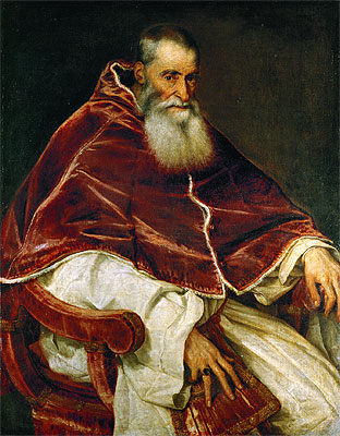 Titian | Pope Paul III (Portrait of Alessandro Farnese), 1543 | Giclée Canvas Print