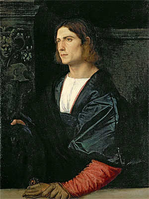 Young Man with Cap and Gloves, c.1515 | Titian | Painting Reproduction