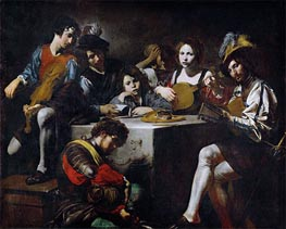Valentin de Boulogne | Concert around the Bas-Relief | Giclée Canvas Print
