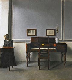 Hammershoi | Ida in an Interior with Piano, 1901 | Giclée Canvas Print