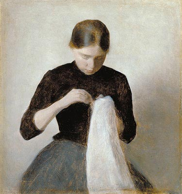 Young Girl Sewing, 1887 | Hammershoi | Giclée Canvas Print