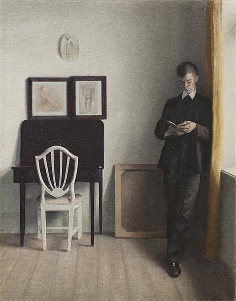 Interior with a Reading Young Man, 1898 | Hammershoi | Giclée Canvas Print
