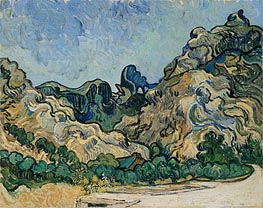Vincent van Gogh | Mountains at Saint-Remy with Dark Cottage | Giclée Canvas Print