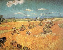 Vincent van Gogh | Wheat Stacks with Reaper, 1888 | Giclée Canvas Print