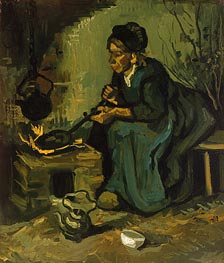 Vincent van Gogh | Peasant Woman Cooking by a Fireplace, 1885 | Giclée Canvas Print