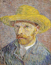 Vincent van Gogh | Self Portrait with a Straw Hat, c.1887 | Giclée Canvas Print
