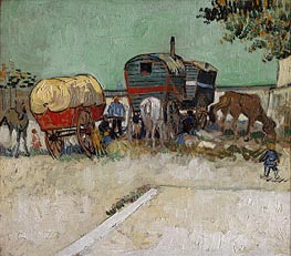 Vincent van Gogh | Encampment of Gypsies with Caravans, 1888  | Giclée Canvas Print