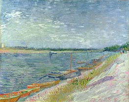 Vincent van Gogh | View of a River with Rowing Boats, 1887 | Giclée Canvas Print