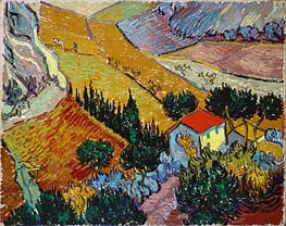 Vincent van Gogh | Landscape with House and Ploughman, 1889 | Giclée Canvas Print