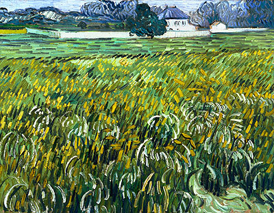 Wheat Field at Auvers with White House, 1890 | Vincent van Gogh | Giclée Canvas Print