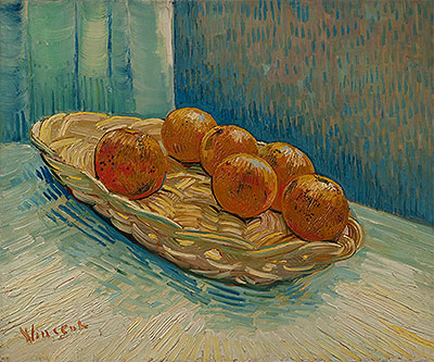 Still Life with Basket of Six Oranges, March 1888 | Vincent van Gogh | Giclée Canvas Print