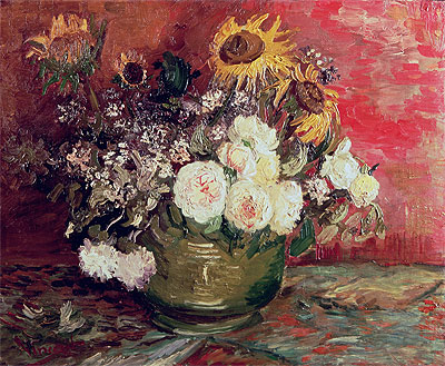 Bowl with Sunflowers, Roses and Other Flowers, 1886   Vincent van Gogh   Giclée Canvas Print