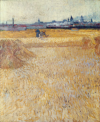 Wheatfield with Sheaves, 1888 | Vincent van Gogh | Painting Reproduction