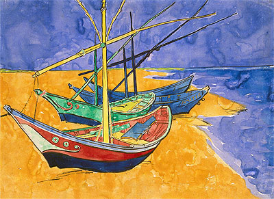 Fishing Boats on the Beach at Saintes-Maries-de-la-Mer, 1888 | Vincent van Gogh | Giclée Paper Print