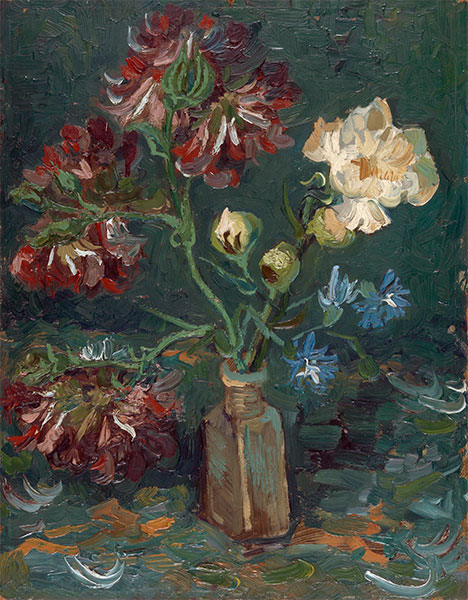 Small Bottle with Peonies and Blue Delphiniums, 1886 | Vincent van Gogh | Giclée Canvas Print