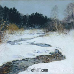 Willard Metcalf | Thawing Brook, 1917 | Giclée Canvas Print