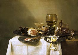 Claesz Heda | Still Life with a Ham and a Roemer, c.1631/34 | Giclée Canvas Print