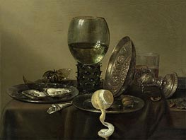 Claesz Heda | Still Life with Oysters, a Rummer, a Lemon and a Silver Bowl | Giclée Canvas Print