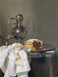 Claesz Heda | Still Life with Silver Ewer and Pie, 1645 | Giclée Canvas Print