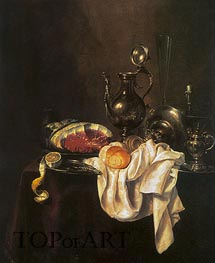 Claesz Heda | Still Life of Ham and Silver Plate, 1649 | Giclée Canvas Print