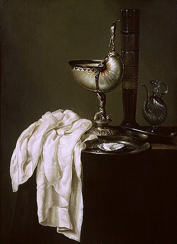 Still Life with Nautilus Cup and Oyster, 1640 | Claesz Heda | Giclée Canvas Print