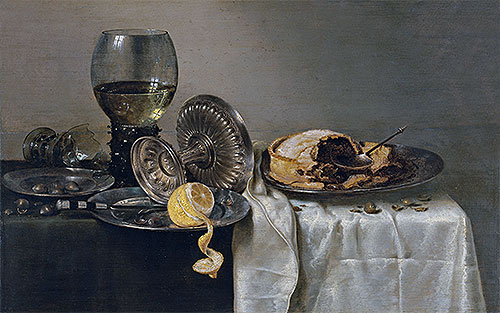 Still Life with Fruit Pie and various Objects, 1634 | Claesz Heda | Giclée Canvas Print