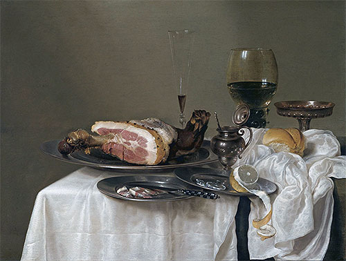 A Still Life with a Roemer, Silver Tazza and Ham, 1642 | Claesz Heda | Giclée Canvas Print