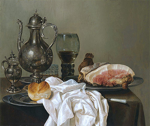A Still Life with a Silver Tazza, a Roemer with White Wine and Ham, undated | Claesz Heda | Giclée Canvas Print