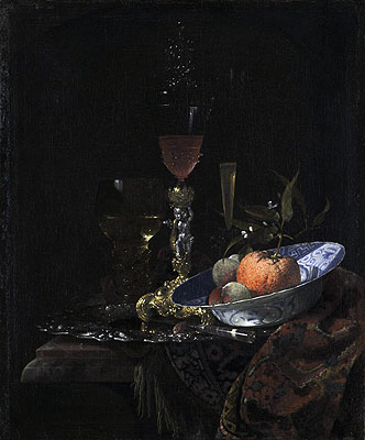 Wine Glass on a Gilded Silver Foot and a Bowl of Fruit, 1663 | Willem Kalf | Giclée Canvas Print