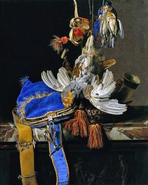 Willem van Aelst | A Still Life of Game and a Blue Velvet Game Bag on a Marble Ledge, c.1665 | Giclée Canvas Print