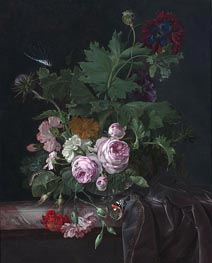 Willem van Aelst | Peonies, Carnations, Thistles and other Flowers in a Glass Vase on a Partially Draped Table | Giclée Canvas Print