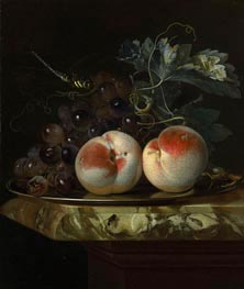 Willem van Aelst | A Still Life with Two Peaches and Bunch of Grapes on a Silver Plate set on a Marble Slab | Giclée Canvas Print
