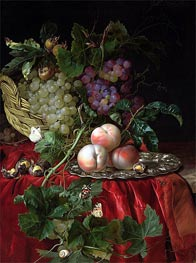Willem van Aelst | Still Life with Grapes and Peaches | Giclée Canvas Print