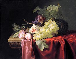 Willem van Aelst | Still Life with Grapes, Plums, Figs and a Melon on a Partly Draped Stone Ledge | Giclée Canvas Print